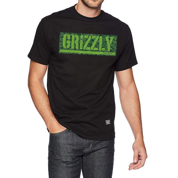 Grizzly Griptape Men's Fresh Cut Box Logo T Shirt Black Skate Clothing Apparel