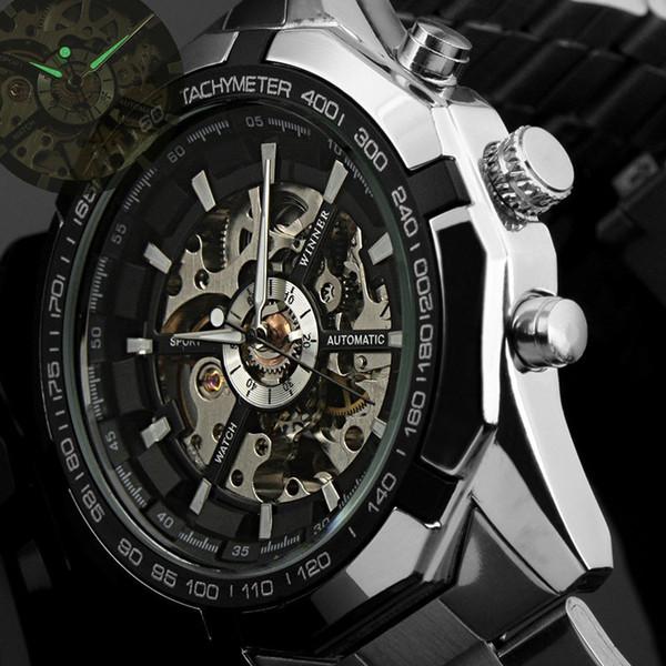 2016 Hombres Relojes de primeras marcas de lujo Ganador Reloj Esqueleto de Moda Hombres Reloj Deportivo Automático Relojes Mecánicos Relogio Masculino