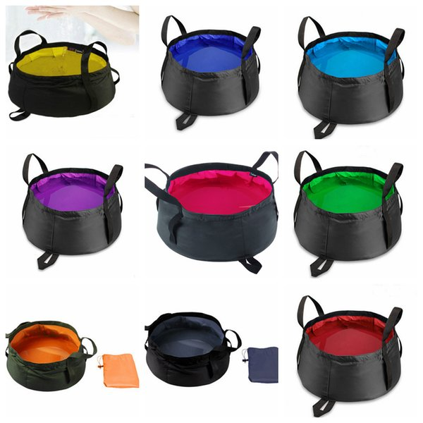9 Colors Portable Folding Washbasin Outdoor Collapsible Bucket Wash Basin Water Basin Pot For Camping Hiking Bath Supplie AAA400