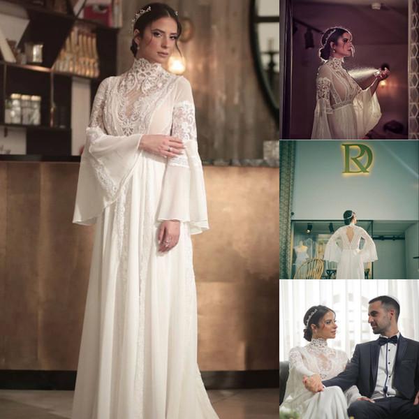 2018 Vintage Muslim Wedding Dresses High Collar Lace Applique Boho Long Sleeve Chiffon Bridal Gowns High Quality
