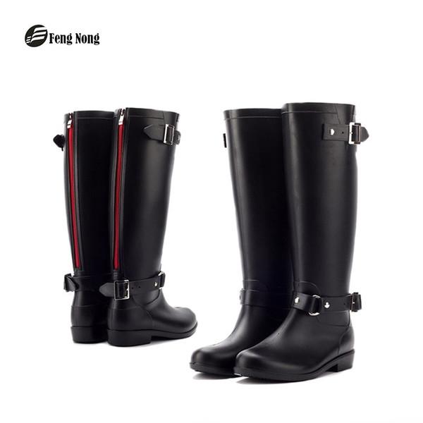 Fengnong yağmur çizmeleri tasarım orta buzağı çizmeler öğrenci yağmur okul ayakkabı kadın katı kauçuk su geçirmez okul botas w016