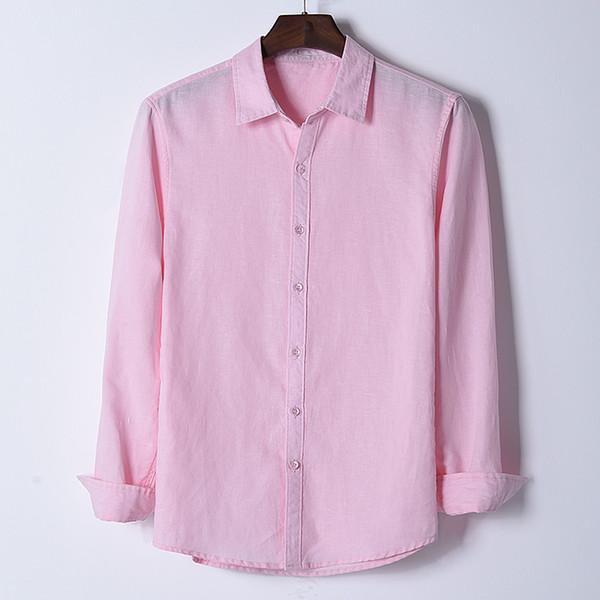 2018 Camicie di lino manica lunga stile nuovo uomo camicia di moda rosa camicie da uomo traspirante camicia casual maschile plus size chemise camisa
