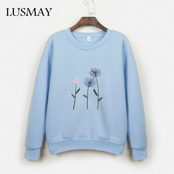 Embroidery Thick Cotton Sweatshirt Pullover Women Autumn Winter 2018 Long Sleeve O Neck Hoodies Harajuku Casual Blue Pullover