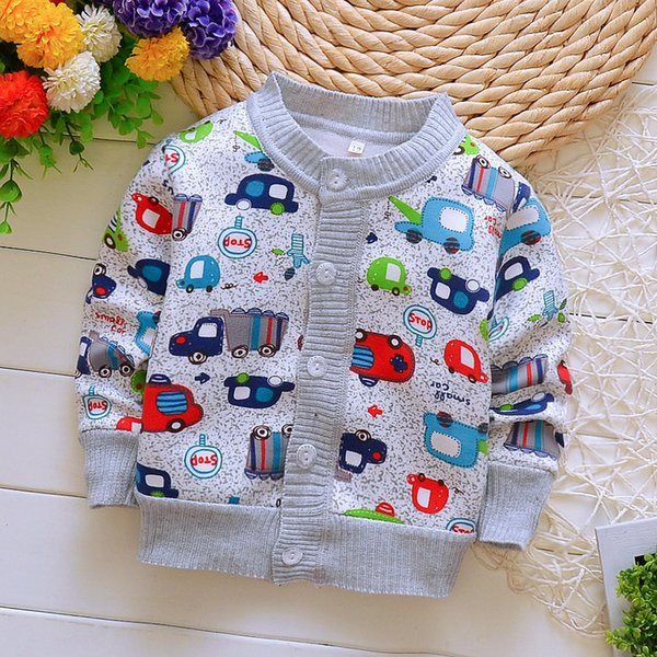 Spring Autumn Boy Cotton Sweaters for Baby Boy Warm Clothes 0-2yrs Kids Casual Knitted Cardigan Sweaters Infant Tee Blue