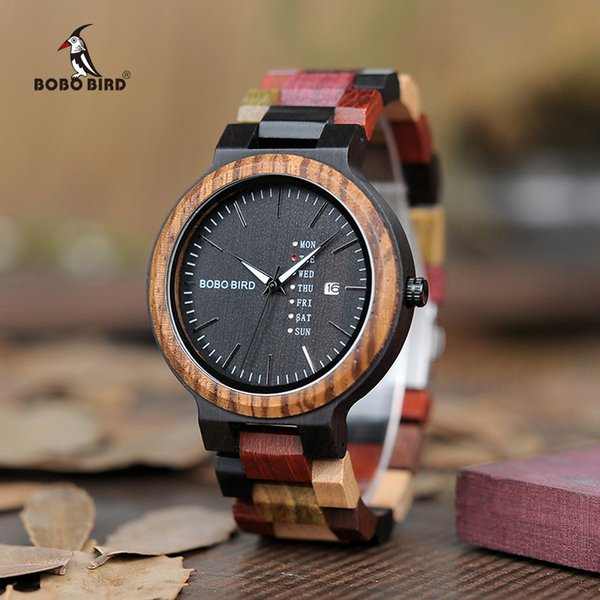 BOBO BIRD Luxury Designer Auto Date Colors Wooden Watches for Men Handmade Quartz Wrist Wristwatches relogio masculino C-P14- 1 Y1892107