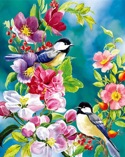16x20 inches Birds Dancing In The Flowers DIY Paint On Canvas drawing By Numbers Kits Art Acrylic Oil Painting Frame