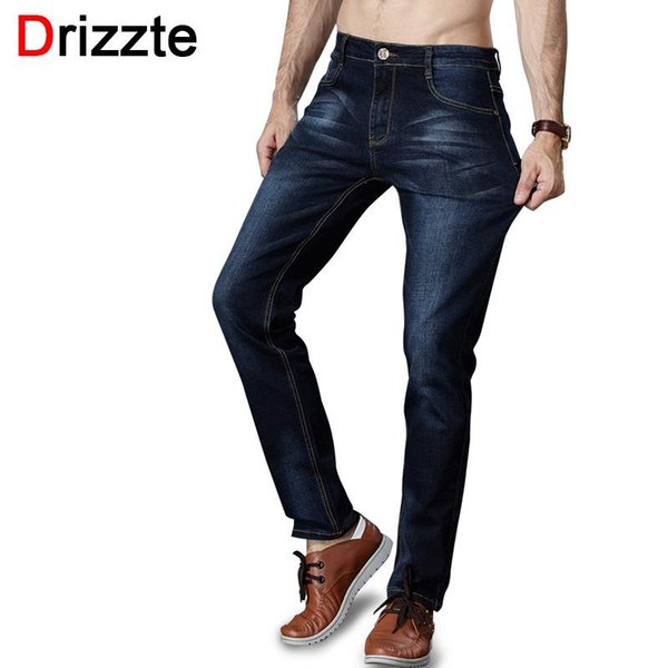 Wholesale- Drizzte Men's Jeans Stretch Trendy Black Blue Denim Brand Men Slim Size 30 32 34 35 36 38 40 42 Trousers Pants Jean