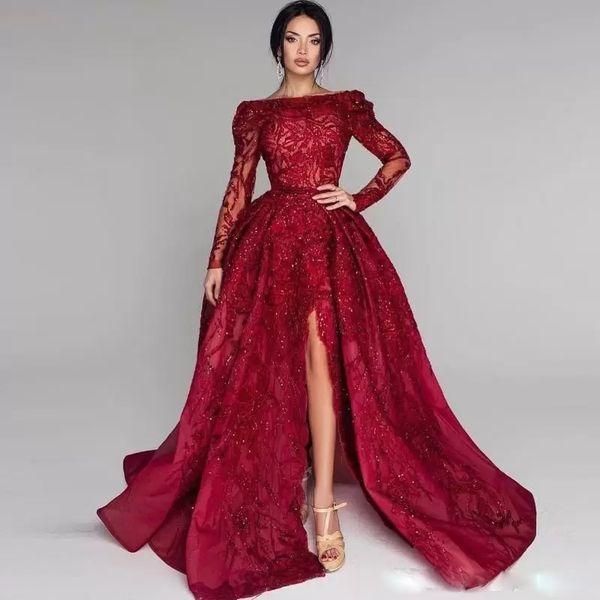 Vestido de fiesta rojo brillante Vestidos de baile Cuello redondo Manga larga Lentejuelas laterales divididas Perlas Apliques de encaje Vestido de noche con falda larga Vestido de fiesta