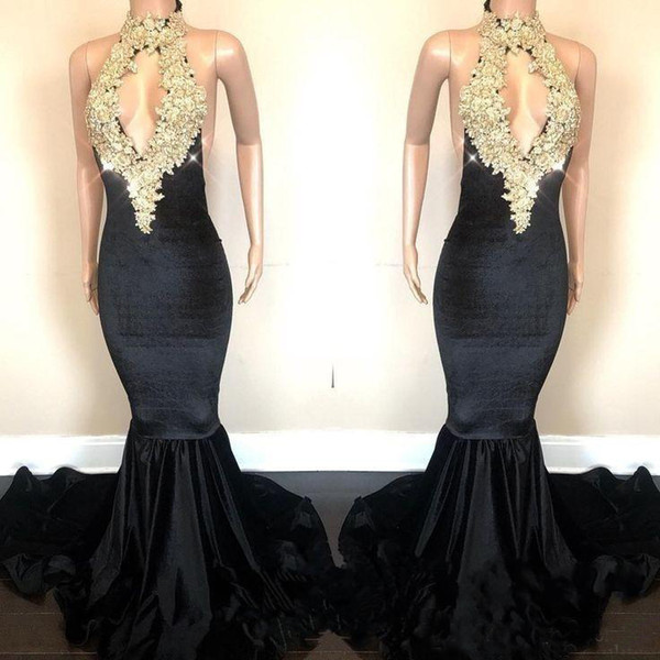 Sexy Sparkling Gold Sequined Prom Dresses Mermaid Lace Appliques Open Back Halter Neck Keyhole Front Long Evening Gowns 2018 Party Dress