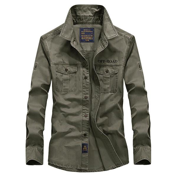 Printemps hommes haute qualité militaire casual marque chemise à manches longues homme automne 100% coton afs jeep armée chemises vertes S-4XL