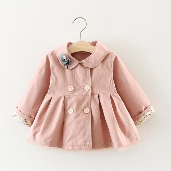 Scsech Yeni Sonbahar Bebek Kız Ceket Pamuk Kedi Nakış Rüzgarlık Dış Giyim Yürüyor Çocuk Bow Coat Çocuk Giyim S8722
