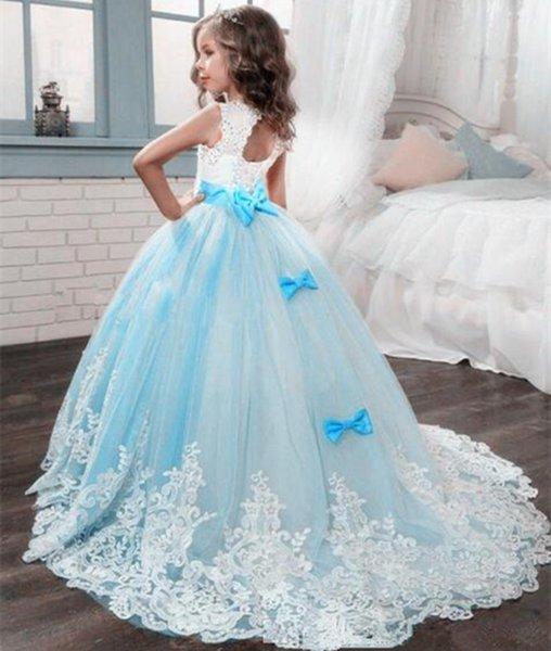 Princess Lilac Little Bride Long Pageant Dress for Girls Glitz Puffy Tulle Prom Dress Children Graduation Gown Vestido5346