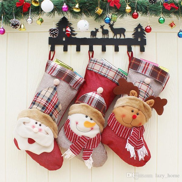 Christmas Stockings Candy Bag Snowman Elk Deer Santa Claus Gift Bags for Children Christmas Tree Hanging Ornament Christmas Decoration