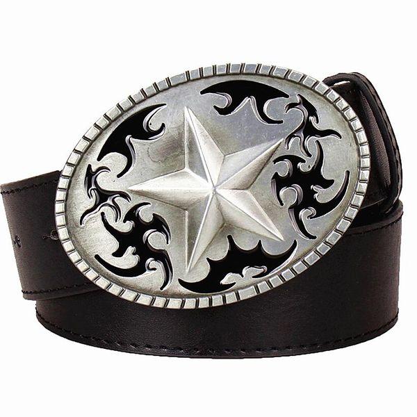 Men's leather belt metal buckle Five pointed star pattern pentagram Totem belts punk rock style trend belt for men