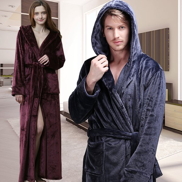 Men Women Winter Extra Long Hooded Thick Flannel Warm Bathrobe Mens Luxury Thermal Bath Robe Silk Soft Dressing Gown Male Robes