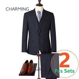 Modern mens suits Blue stripes quality mens suits Suitable for work clothes and men s wedding suits Two piece suit for man (Jacket + Pants)