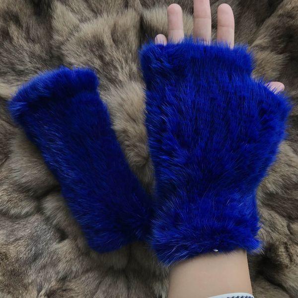Magicfur-Real Fingerless Gloves Blue Mittens Warm Gloves Mittens Real Fur Women's Glove