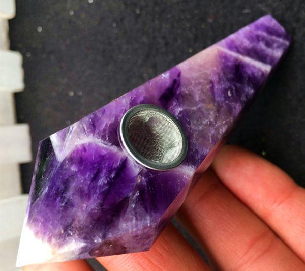 10pcs Natural dream Amethyst Crystal Smoking Pipe + strainer quartz stone healing wand