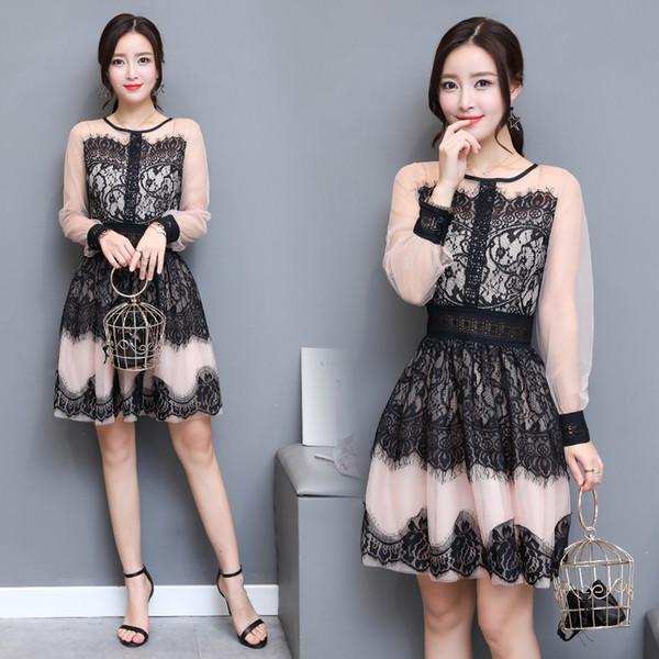 1688 # 2017 outono nova coréia estilo moda feminina long-sleevd o pescoço sexy oco out lace costura vestido casual dress vestidos