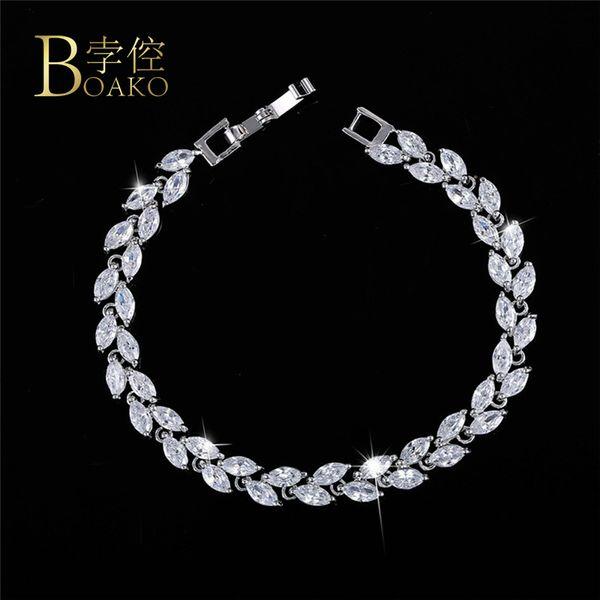 BOAKO Cubic Zirconia Bracelets Jewelry Silver Color Leaf Charm CZ Crystal Female Bracelets Bangles For Women pulseira masculina