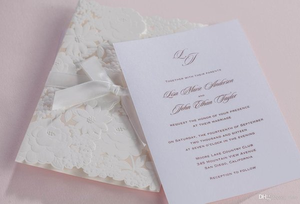 Flower Wedding invitations cards White Wedding invitaitons High Quality Paper Cards Personalized Invitations Cards with Envelope and Seal