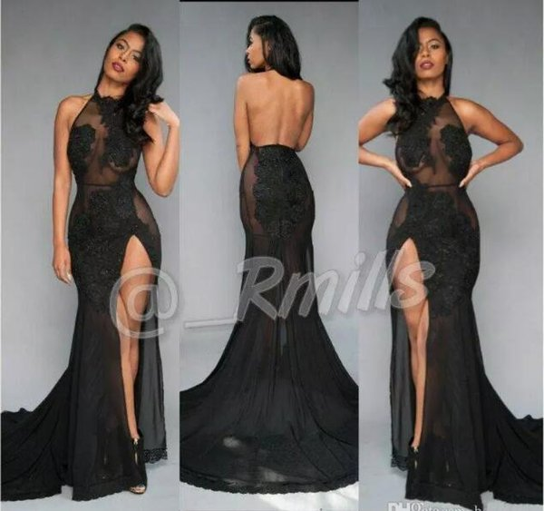 vestido marsala Open Back Sexy Black Prom Dresses 2018 High-Thing Split Vintage Lace Halter Evening party gown Red Carpet Gowns