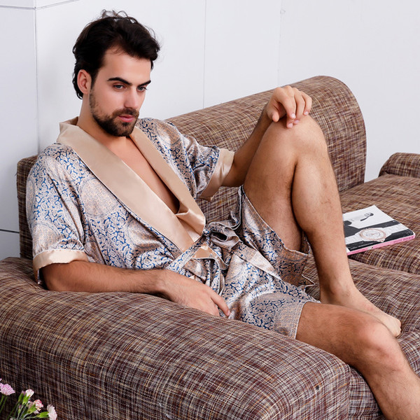 2018 Men's Silk Nightgown Robe Summer Short-Sleeve Kimono Pajamas Bathrobe Mens Print Plus Size 5XL Satin Home Clothes Male