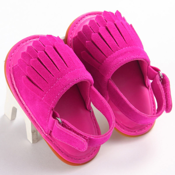 Summer Newborn Baby Boy Girl Tassel Sandals Solid Color PU Leather Crib Walking Sandals Infant New Soft Shoes 0-18 Months