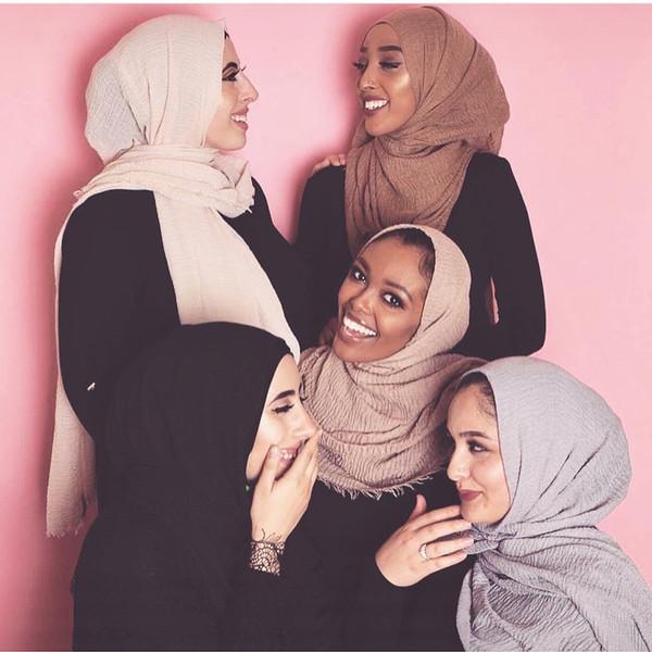 40 Colors Muslim Scarf Frayed Crepe Premium Cotton Plain Hijab Scarf Women Maxi Hijabs Shawls Oversize Islamic Head Wraps