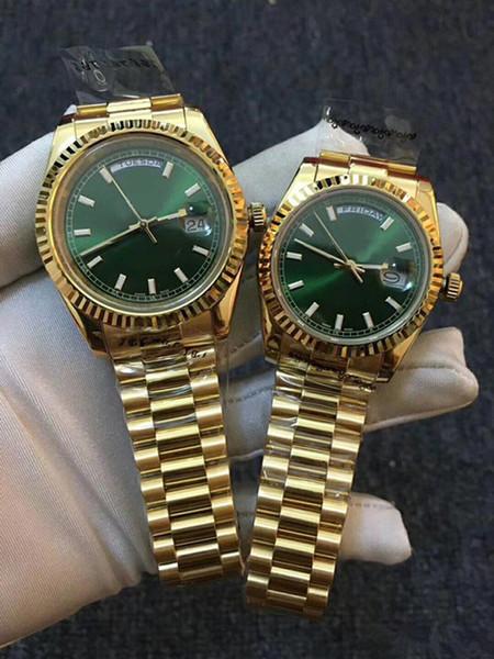 luxo DAYDATE Ouro auto-liquidação movimento mecânico dos homens relógios Canelada canelada Escondida fecho da coroa dobrável Mens watch 118238