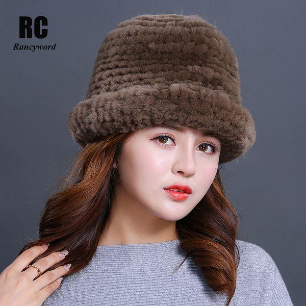 [Rancyword] Luxury Natural Fur hats Fur Bucket Hat Russian Real Rex Rabbit Hat Female Solid Women's Winter Cap Ladies RC1408