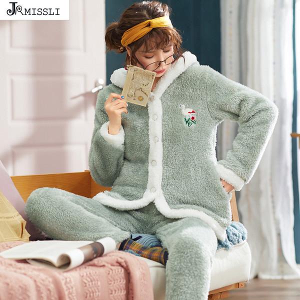 JRMISSLI set pigiama da donna pigiama inverno femminile flanella spessa pigiama caldo set simpatico stampa animale manica lunga pantaloni pieni
