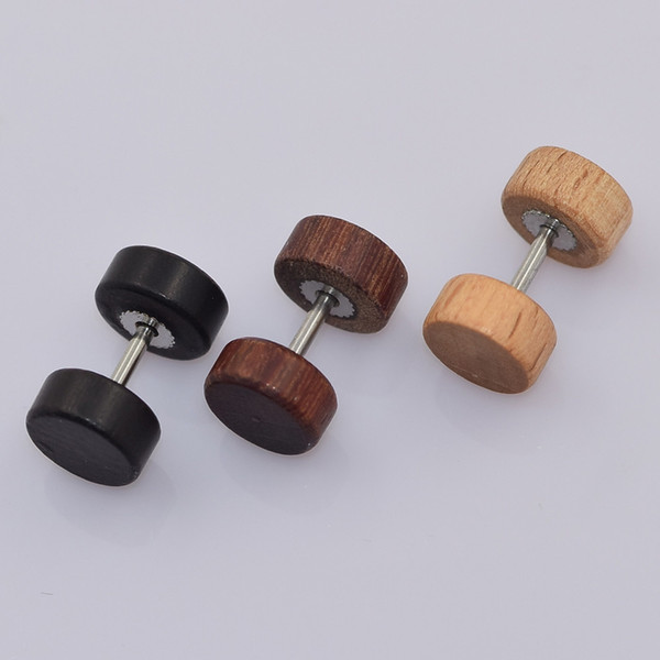 top popular Retro Natural Solid Wood Barbell Stud Earring Fake Cheater Piercing Plug Gauge Stylish Hypoallergenic Earrings Support FBA Drop Shipping H9F 2019