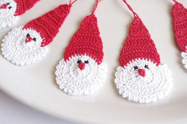 Crochet Santa Claus Christmas decorations Hanging Christmas ornaments Crochet Father Christmas