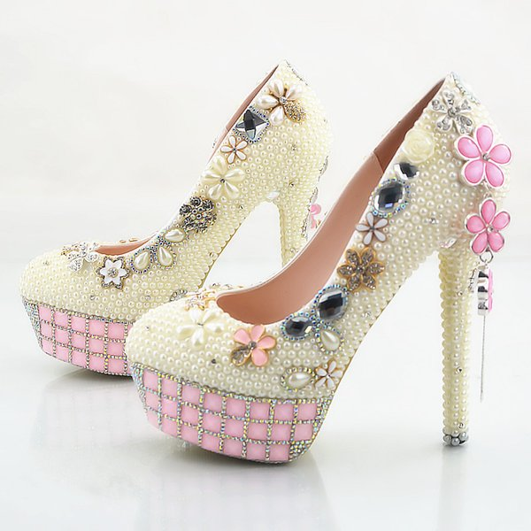 2018 Handmade Fashion pink crystal flowers tassel High Heels Ivory pearls Wedding Shoes Bridal High Heels elegant Party Prom wedding Shoes