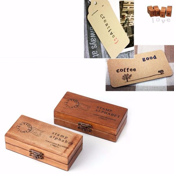 Kreative Holz Siegel Großbuchstaben Alphabet Buchstaben Stempel Set Vintage