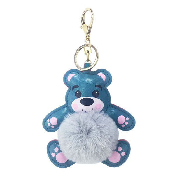 Creative and cute PU artificial leather bear fur ball key chain pendant bag and car key accessories toy gifts