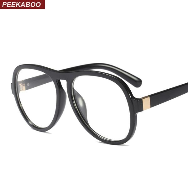 44d1494e7ef5 Peekaboo retro oversized eyeglasses frames men plastic clear lens large  black glasses frame women tag unisex