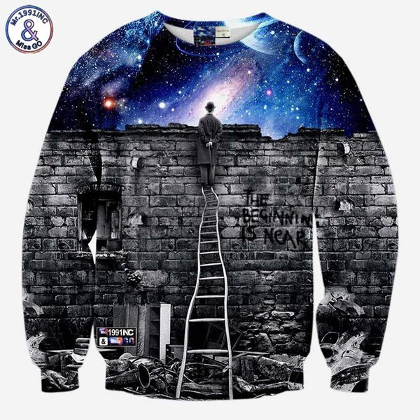 2017 Mr.1991INC New fashion Men/women's sweatshirts 3d print A person watching space Meteor shower casual galaxy hoodies