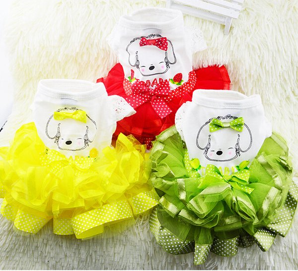Cute Dog Clothes for Small Dogs Wedding Dress Skirt Summer Luxury Princess Pet Clothes Fruit Design