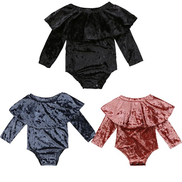 Fashion Newborn Toddler Baby Girl Clothes Long Sleeve Off shoulder Cape Collar Velvet Baby Bodysuit Jumpsuit Outfit Tops Clothes