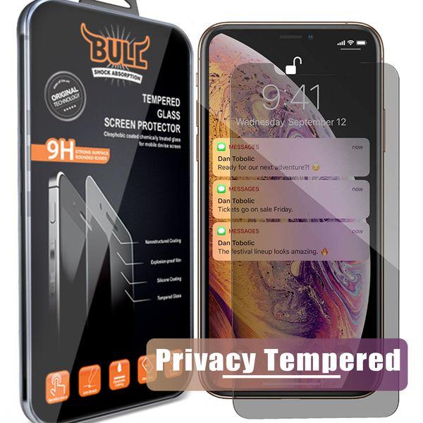 Pour Iphone XR XS MAX X 8 7 6 Confidentialité Verre Trempé Pour S7 Protecteur D'écran LCD Film Anti-Espion Protection Écran Garde Bouclier pour Samsung S6 / S5