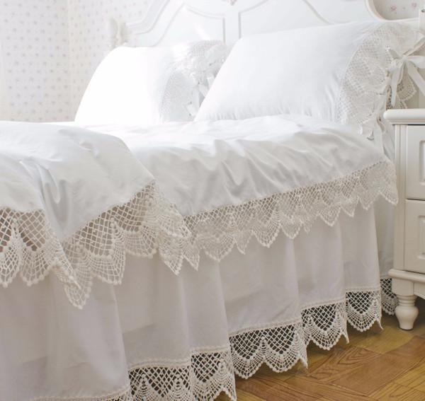 Coréen satin blanc dentelle literie housse de couette ensemble double queen king size couleur unie princesse à volants jupe de lit livraison gratuite