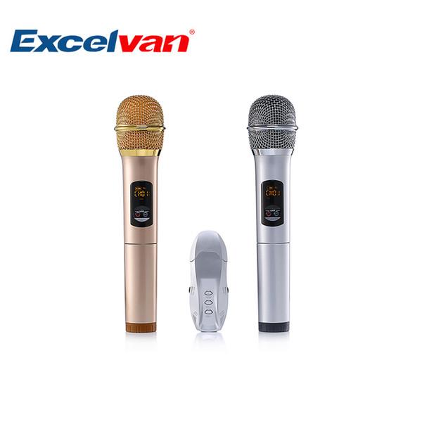 Excelvan K18U Professionelles Bluetooth-Zweihandmikrofon mit UHF-Funkmikrofonsystem Leichte LED-Anzeige