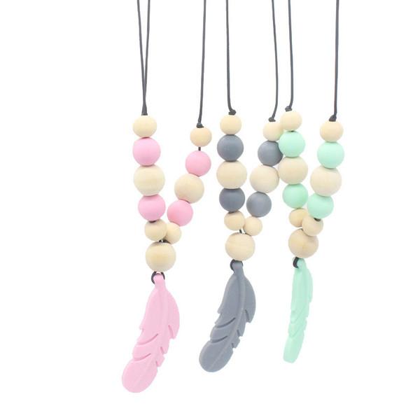 Glatte Molar Spielzeug Baby Teether Perlen Natürliches Holz Mom DIY Halskette