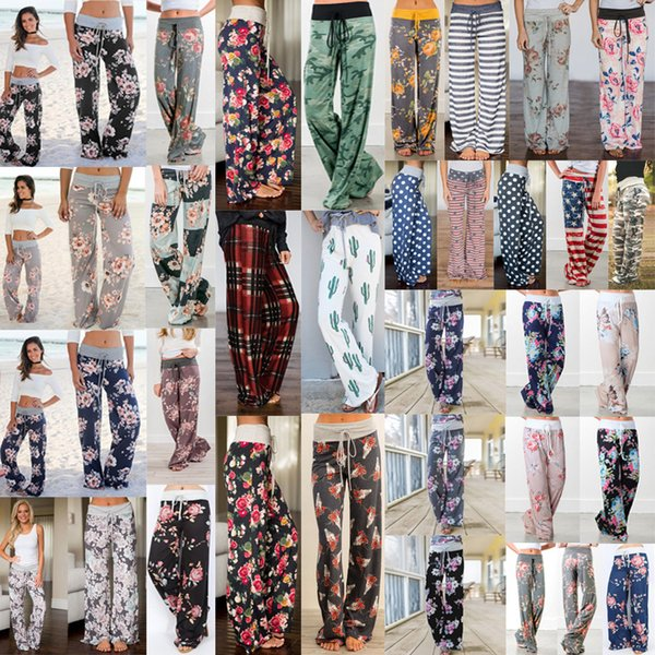 best selling 28 Style Elastic Waist Floral Wide Leg Pants Loose Elastic Waist Pants Sport Casual Loose Long Pants Trousers Yoga Fitness Women AAA536