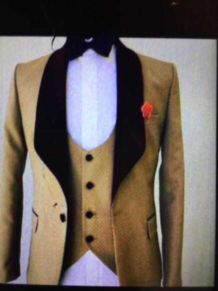 New Design Shawl Lapel Golden Wedding Men Suits Groom Tuxedos Men Party Groomsmen Suits (Jacket+Pants+Tie+Vest) NO;162