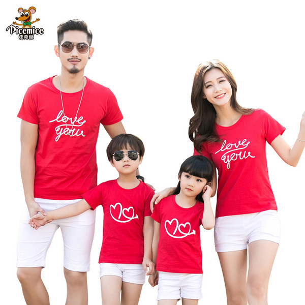 Family clothing 2018 Summer Love Heart Short-sleeve T-shirt Matching Family Clothing Outfits For Mother Daughter And Father Son