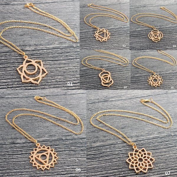 Lotus Pendant Necklace Yoga Necklace Gold Sacred Hollow Geometry Reiki Mala Healing Energy Yoga Jewelry Gift for Women #273329