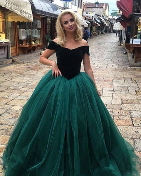 Hunter Green Off the Shoulder Top Velvet Ball Gown Prom Dresses 2018 Tulle Formal Evening Dresses Special Occasion Party Wear Plus Size